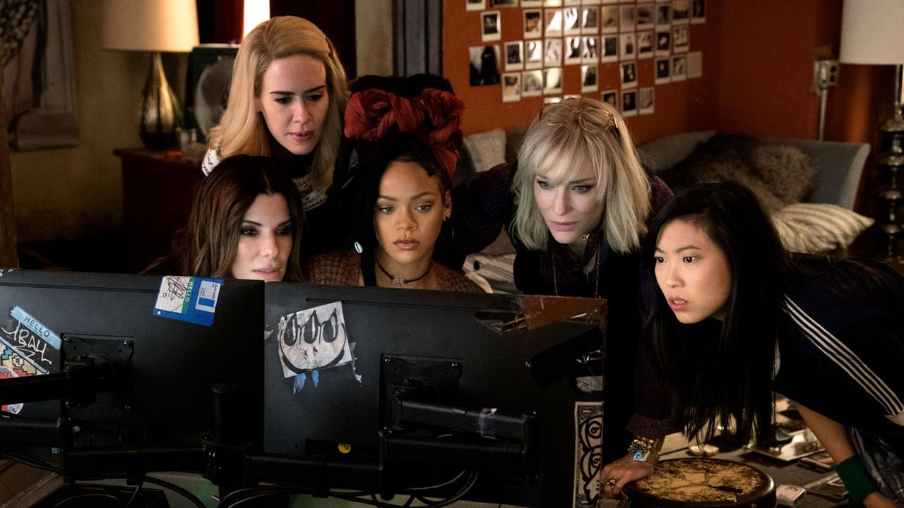 This image released by Warner Bros. shows, from foreground left, Sandra Bullock Sarah Paulson, Rihanna, Cate Blanchett and Awkwafina in a scene from Oceans 8.