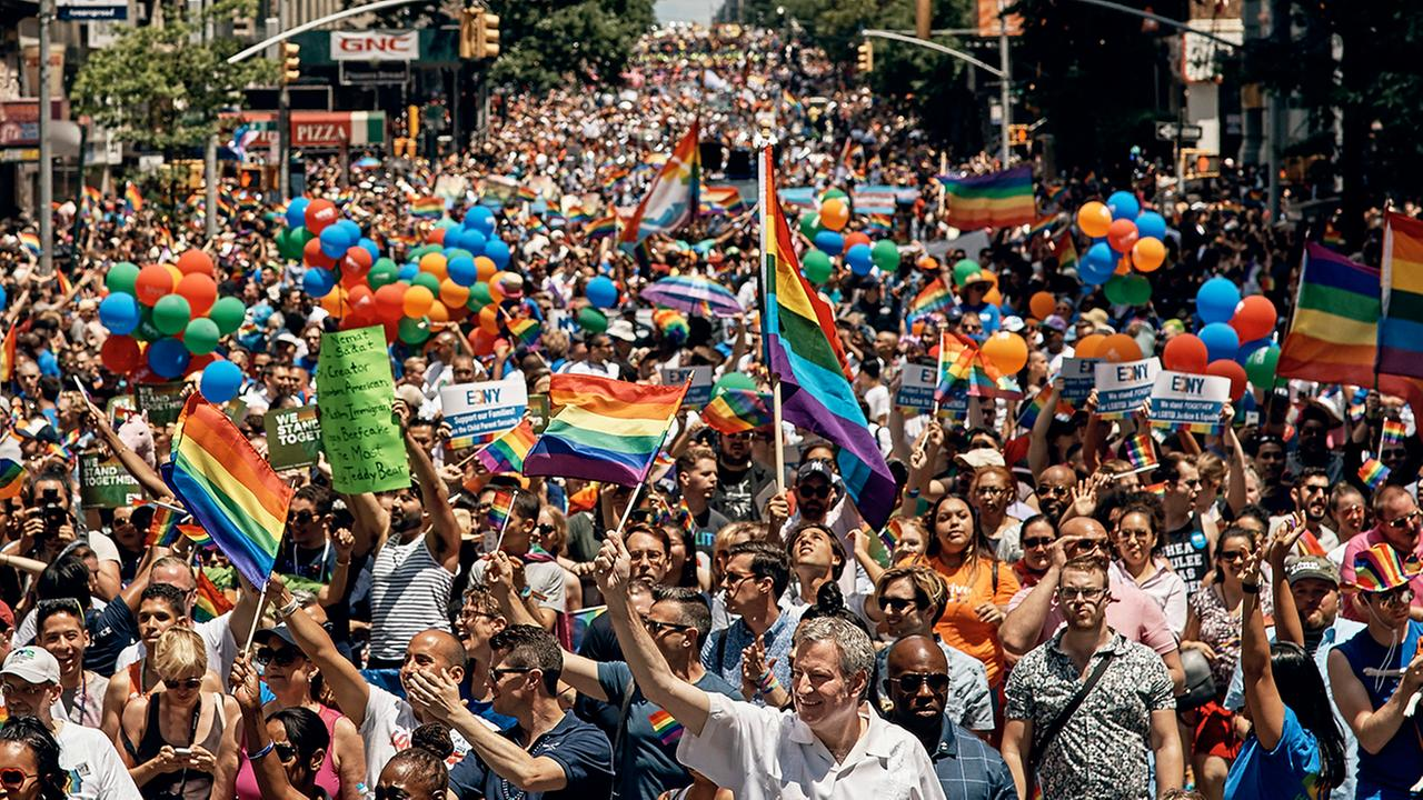 New York City Mayor Bill de Blasio, bottom center, marches during the New York City Pride Parade on Sunday, June 25, 2017, in New York.