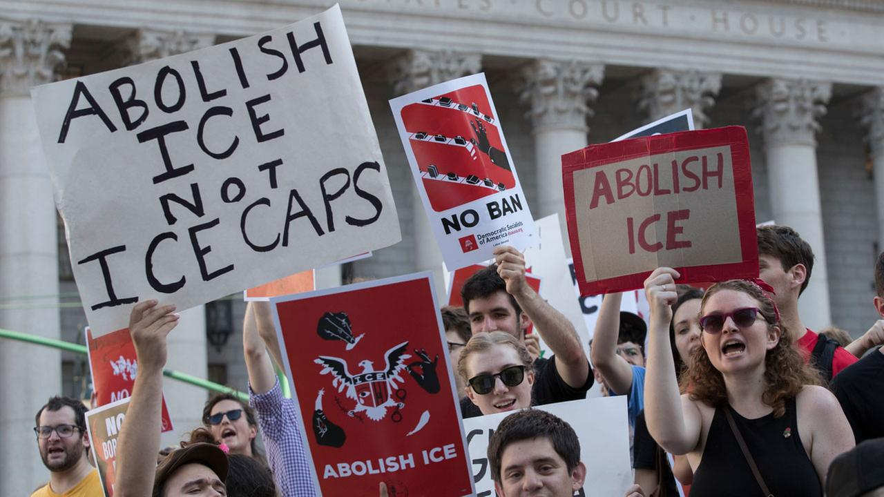 Protester chant slogans outside a Federal court during a demonstration calling for the abolishment of ICE and an end to mass incarceration, Friday, June 29, in New York.