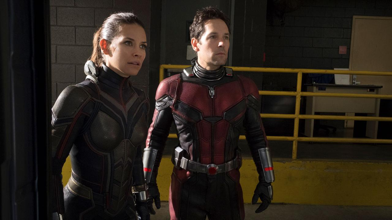This image released by Marvel Studios shows Evangeline Lilly, left, and Paul Rudd in a scene from Ant-Man and the Wasp.
