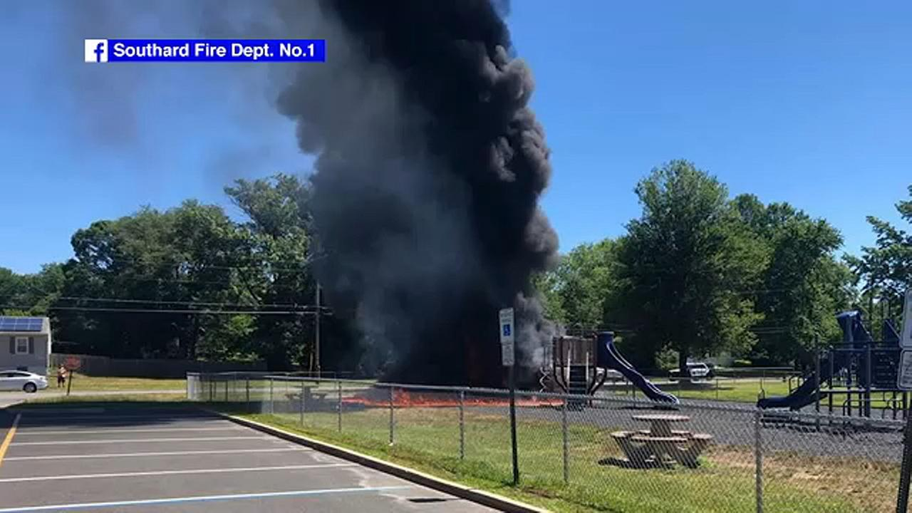 Fire engulfs New Jersey elementary school playground