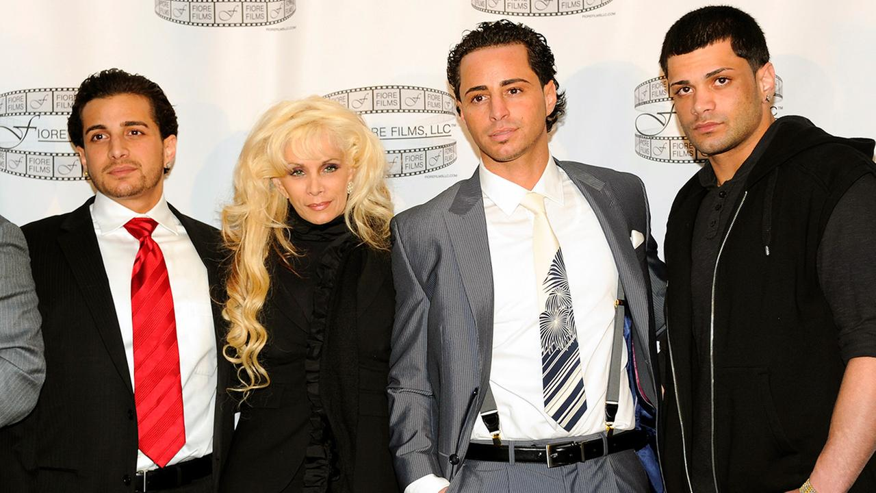 From left: John Gotti Agnello, Victoria Gotti, Carmine Gotti Agnello and Frank Gotti Agnello attend a press conference for the film Gotti: Three Generations, in New York in 2011.