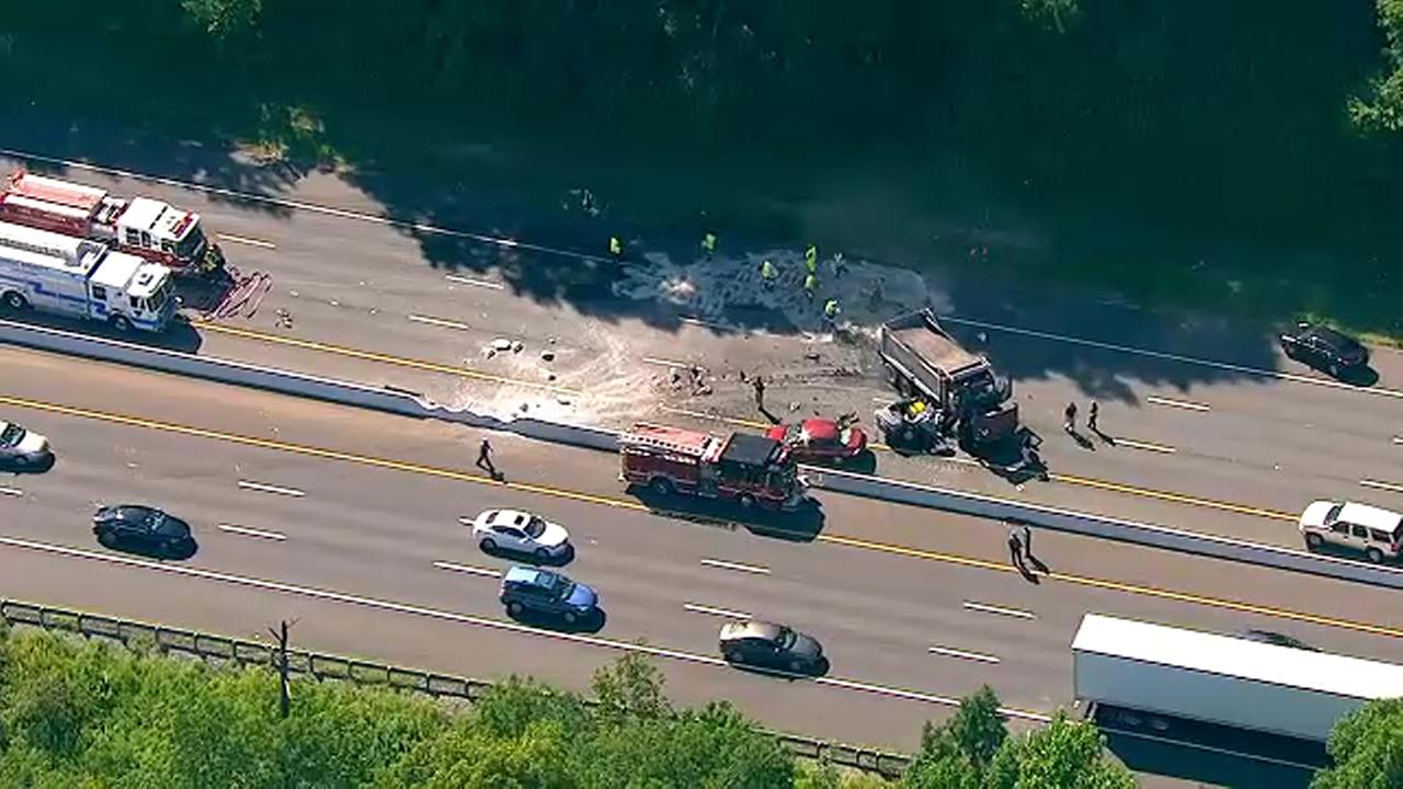 accident involving car and dump truck on i-78 in berkeley heights