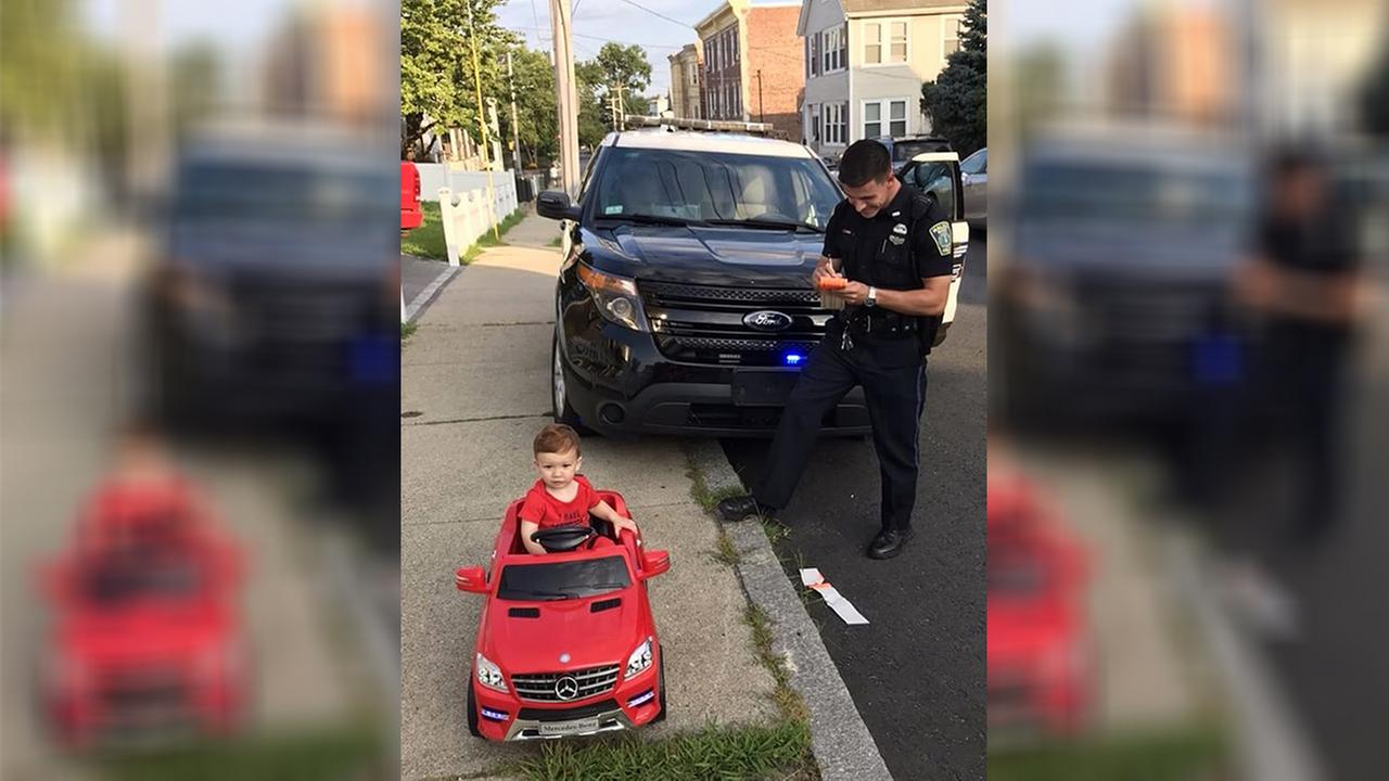 Police give toddler 'cuteness warning' after pulling him over in toy convertible