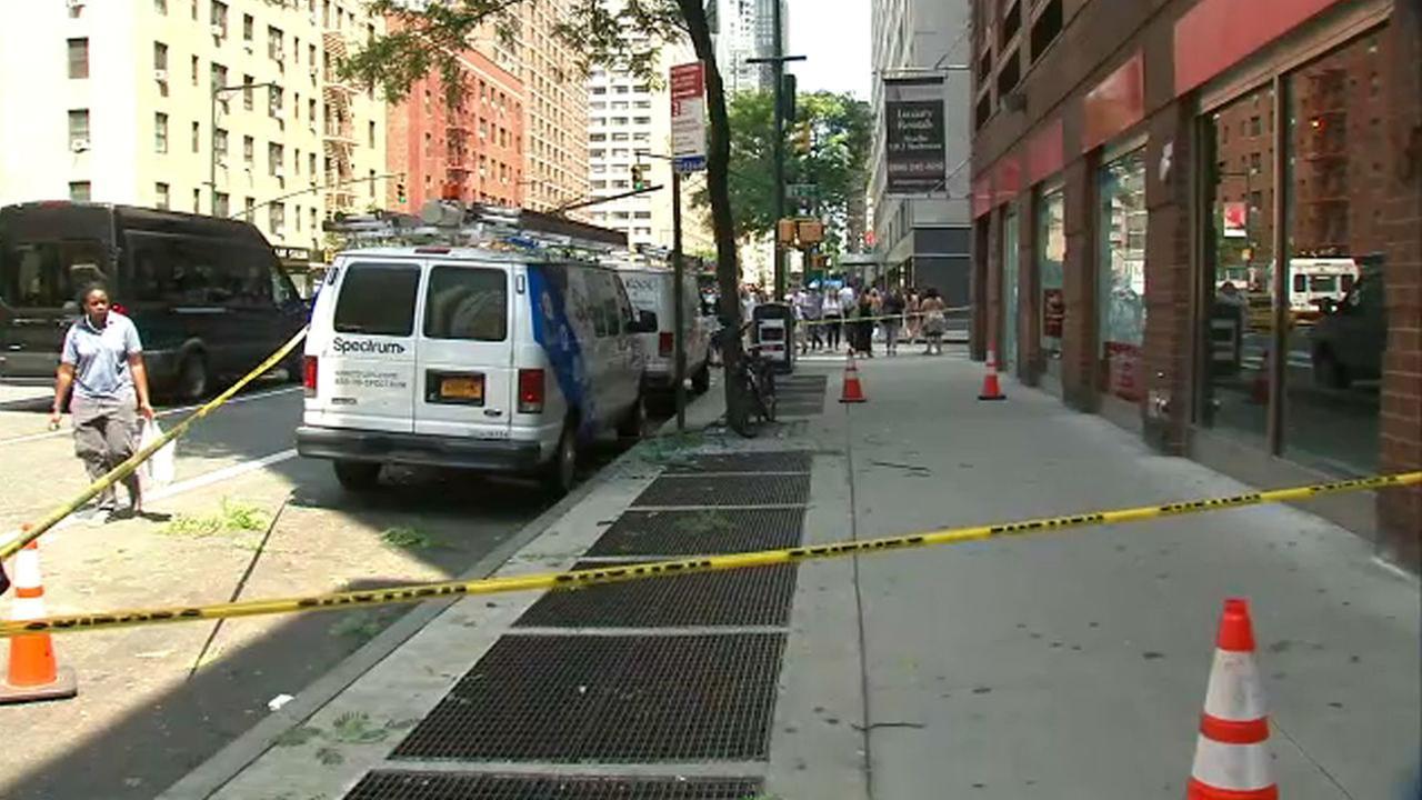 Window pane crashes down below in Midtown Manhattan