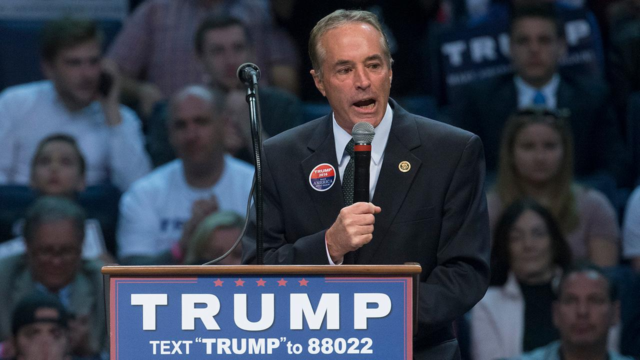 Rep. Chris Collins, R-N.Y., speaks to the crowd before the arrival of Republican presidential candidate Donald Trump during a campaign stop in Buffalo in 2016.