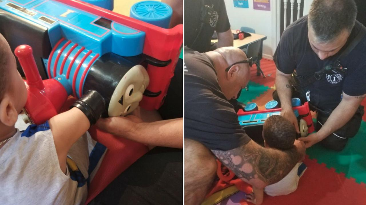Firefighters help toddler with arm stuck in 'Thomas the Tank Engine' toy