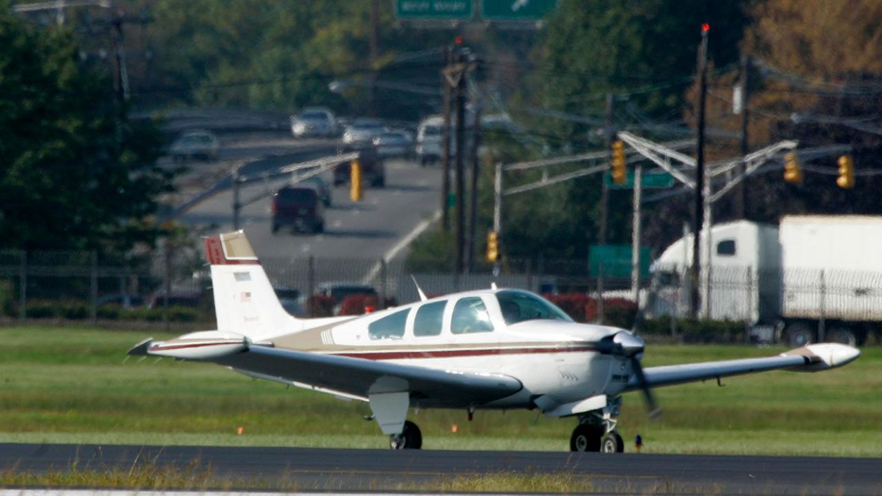 A single-engine plane waits to take off at Teterboro Airport in Teterboro, New Jersey