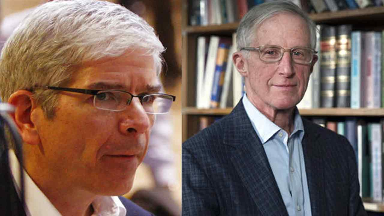 Two researchers at American universities have been awarded the 2018 Nobel Prize for Economics: New York Universitys Paul Romer (L) and Yale Universitys William Nordhaus (R).