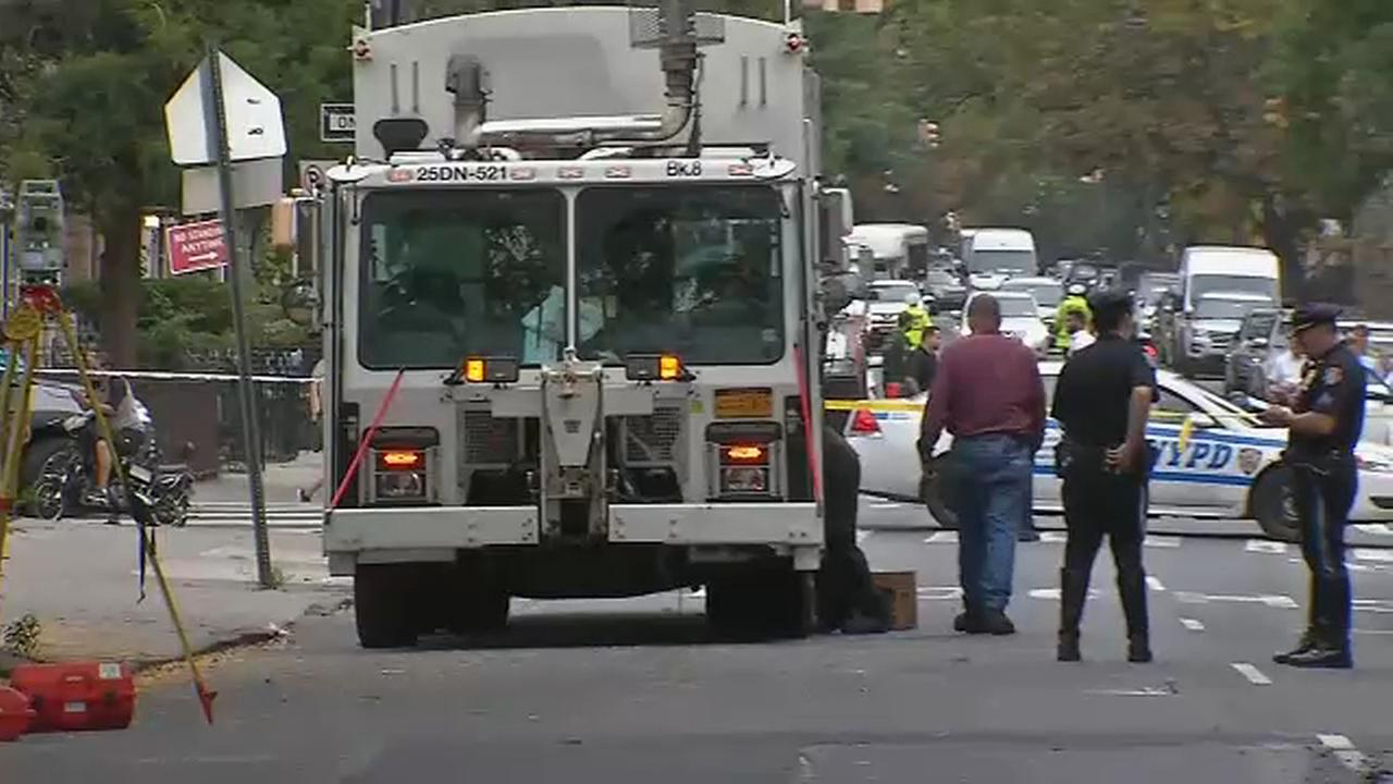 A Brooklyn pedestrian was struck and killed by a sanitation truck Thursday morning.