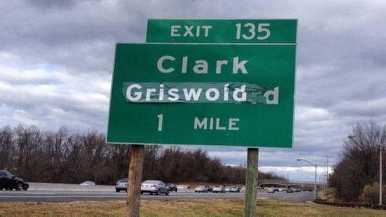 Garden State Parkway sign changed to 'Clark Griswold'
