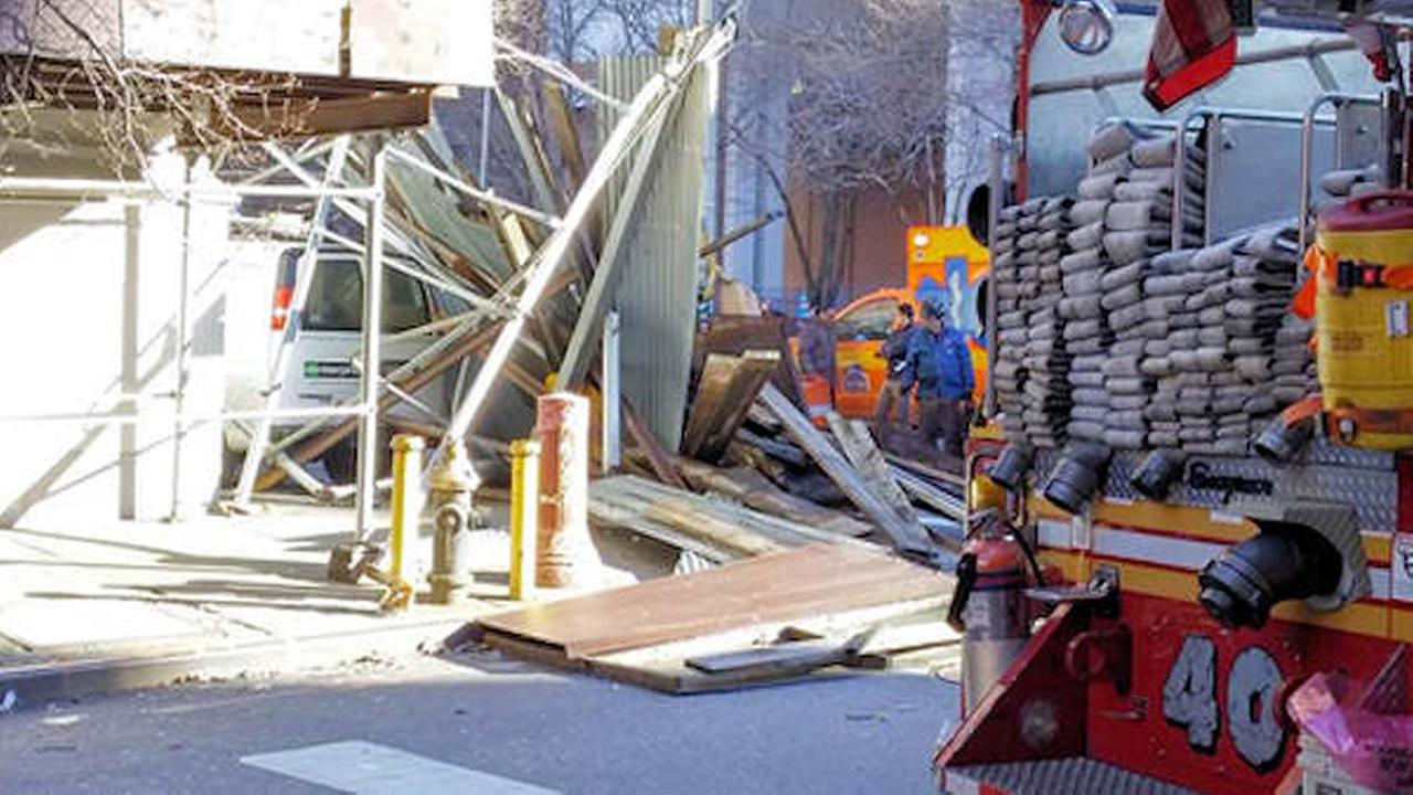Midtown crash leaves 1 hurt when van careens into scaffolding