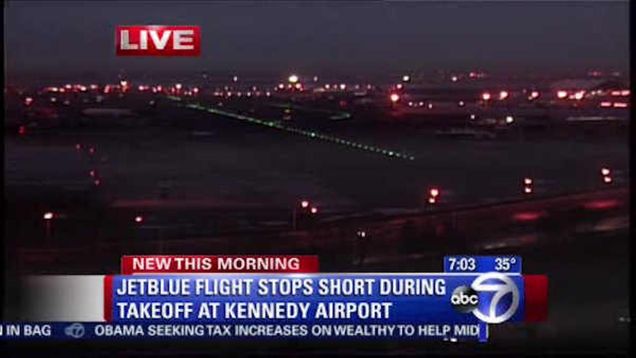 JetBlue flight forced to stop short during takeoff at New York airport