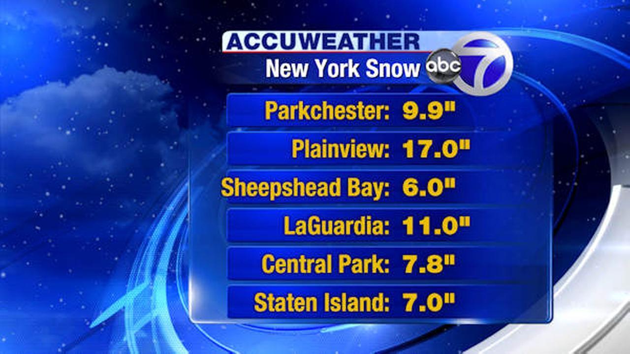 snowfal totals new york area