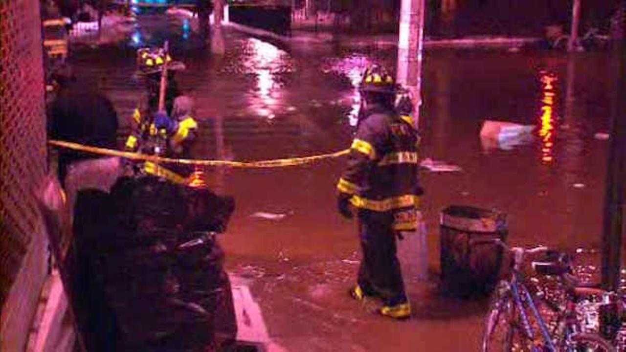 Water main break floods street on Lower East Side