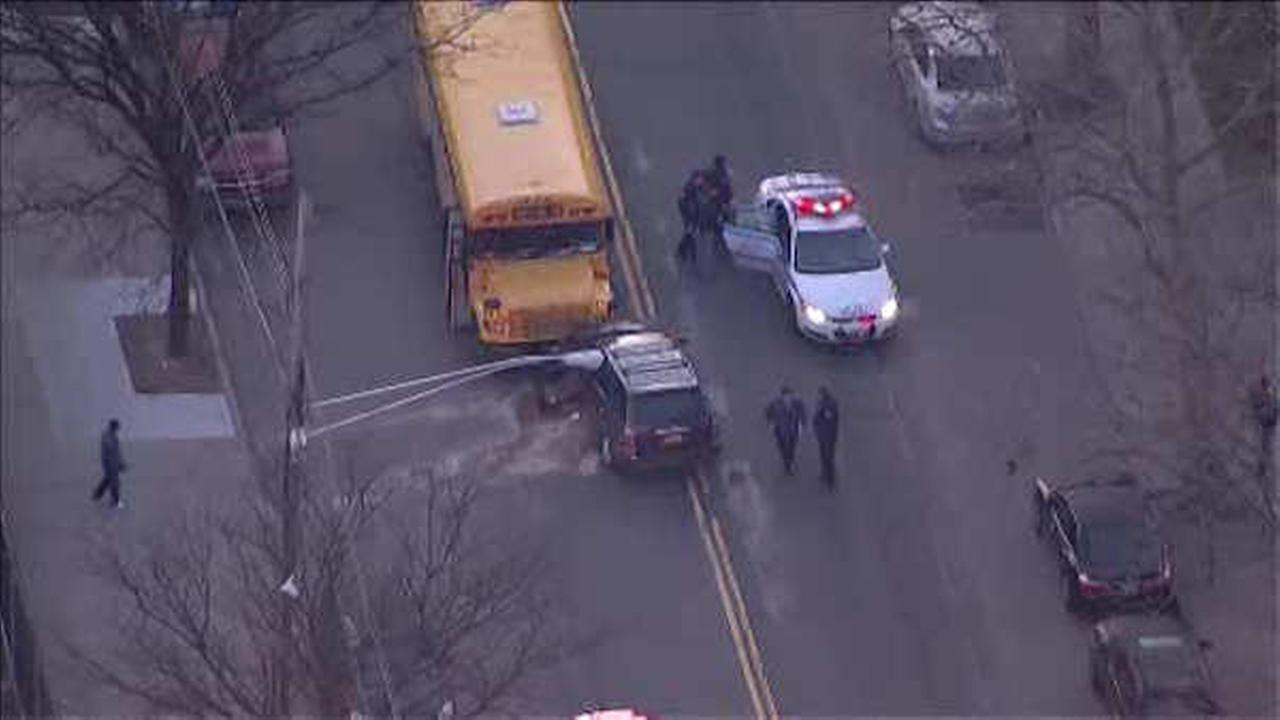 School bus and car collide in the Soundview section of the Bronx; 1 injured