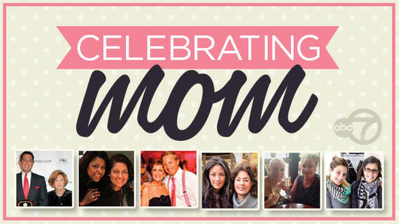 Can you identify the Eyewitness News anchors and reporters posing with their moms?