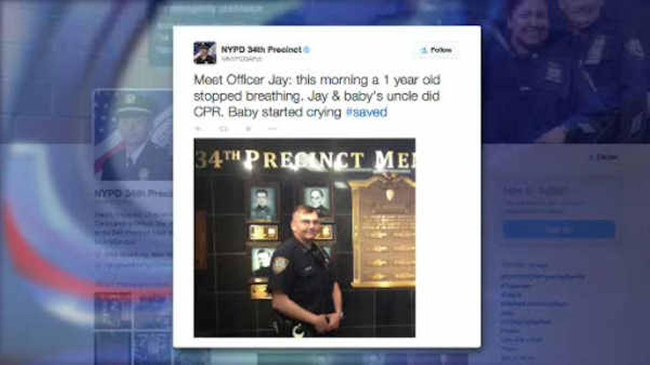 NYPD officer helps to save baby's life after child stops breathing