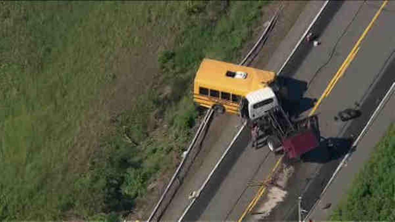 Head-on collision between school bus, garbage truck in Walkill