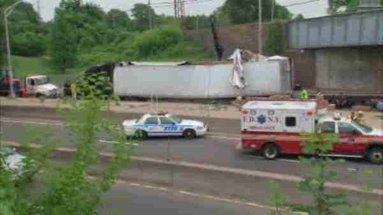 Truck hits overpass in Rosedale, Queens