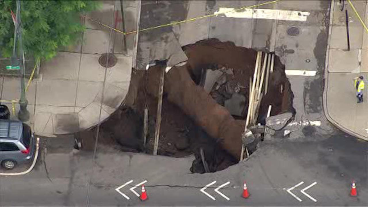 Massive sinkhole swallows intersection in Brooklyn