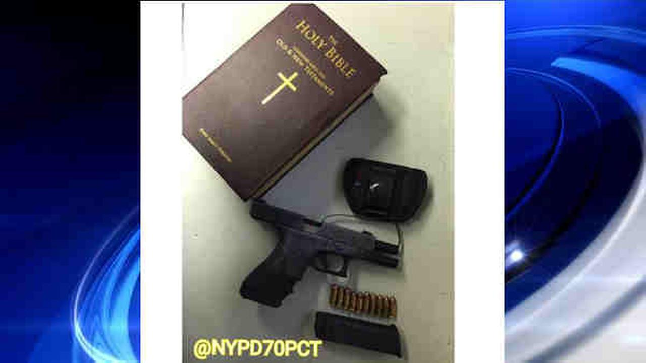 Police find gun stashed in Bible, pot, knife in car in Flatbush