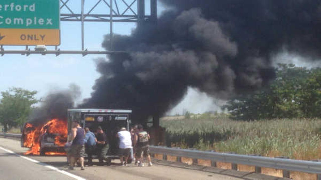 SUV bursts into flames on New Jersey Turnpike