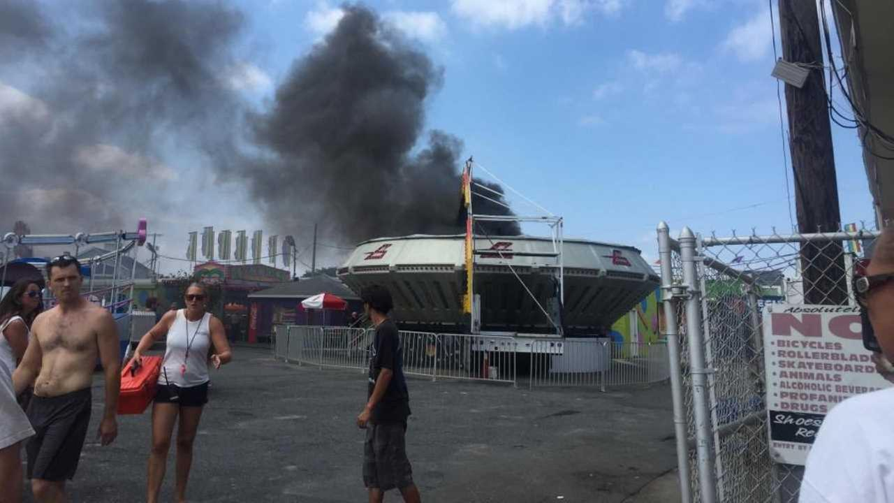 Fire erupts on ride Keansburg Amusement Park in NJ; photo shows black smoke