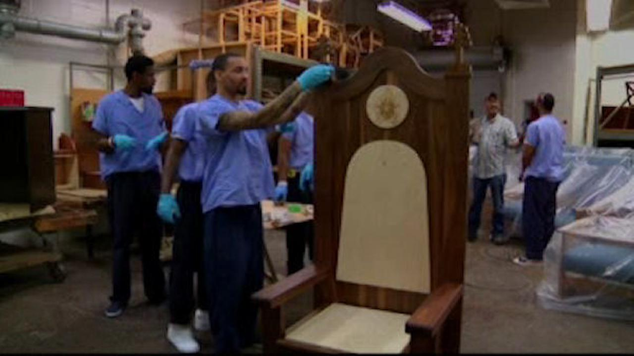 Inmates work to create chair for pope's Philadelphia prison visit
