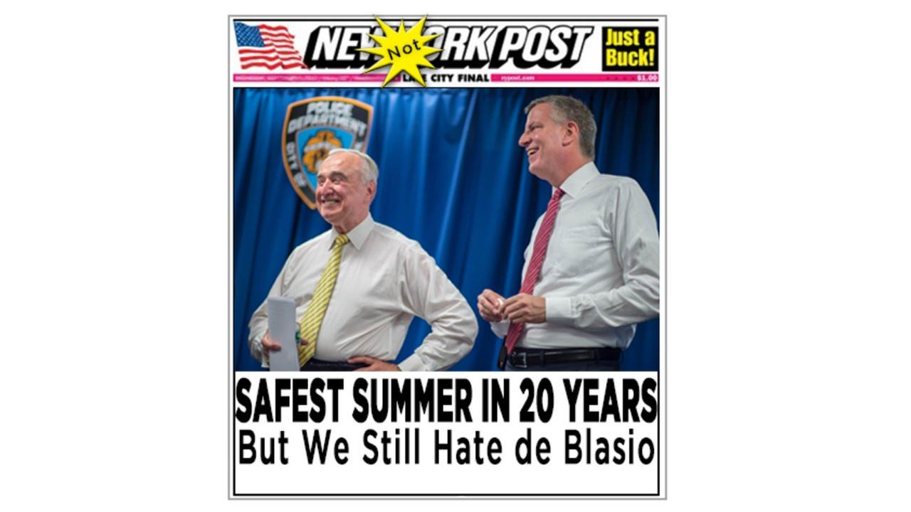 Mayor Bill de Blasio pokes fun at criticism by Photoshopping his own New York Post headline on low crime rate