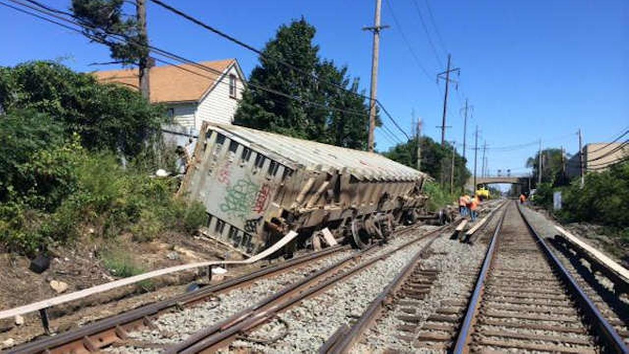 Derailed freight train car courtesy LIRR