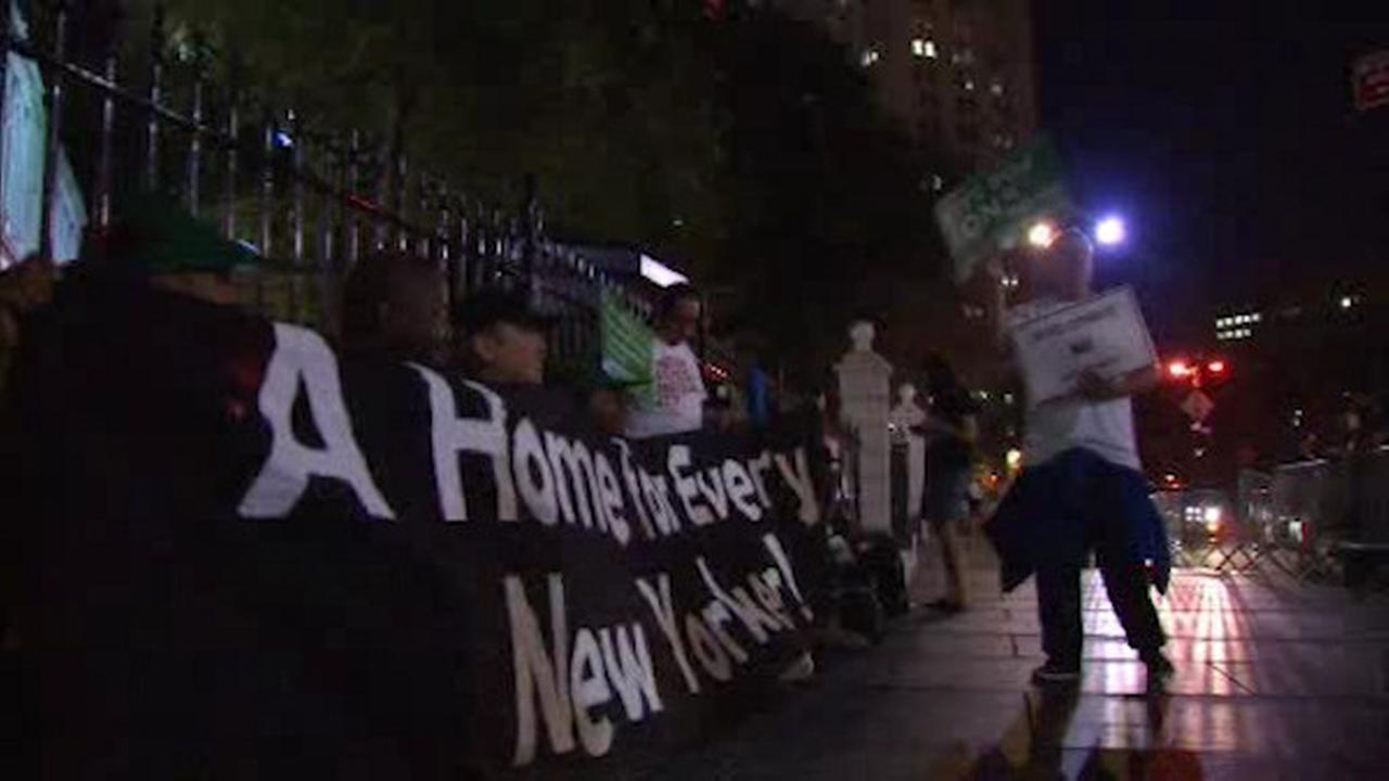 Occupy Wall Street demonstration at City Hall for affordable housing for homeless