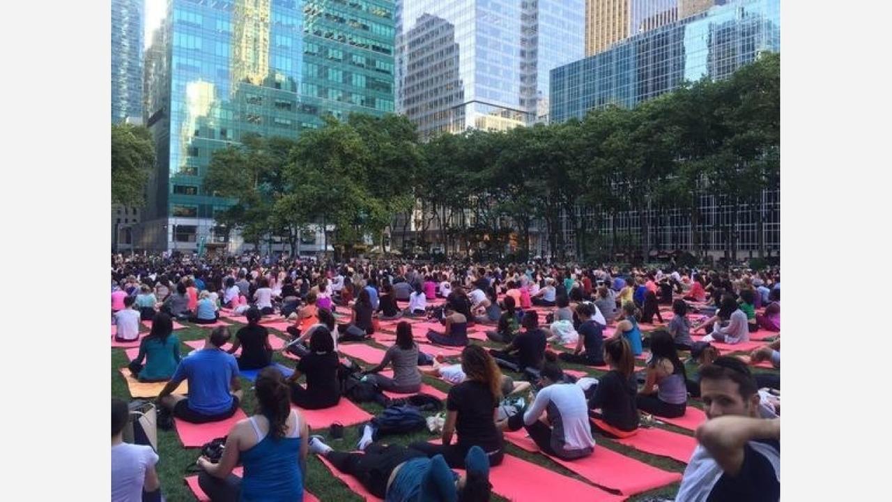 Yoga in Bryant Park.   Photo: Shanta B./Yelp