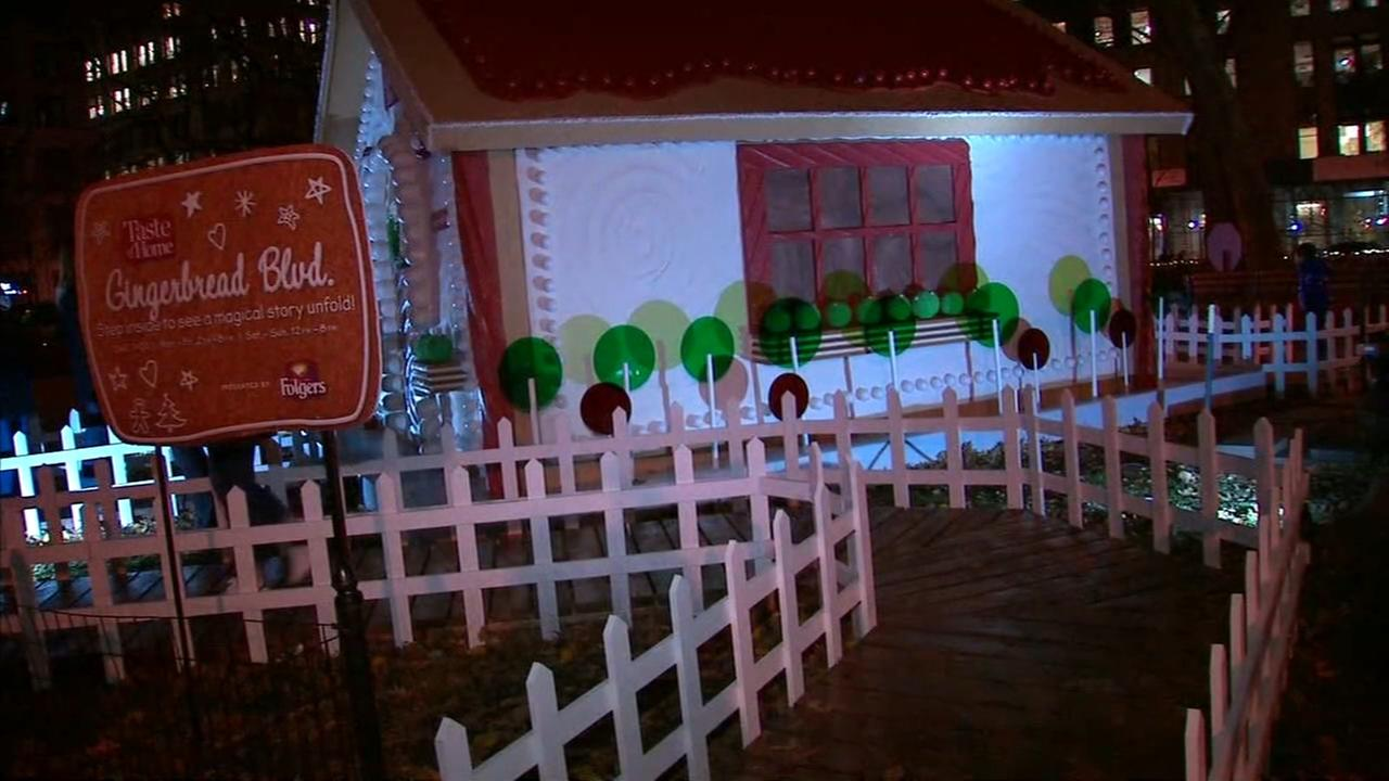 Life-size gingerbread house in Madison Square Park