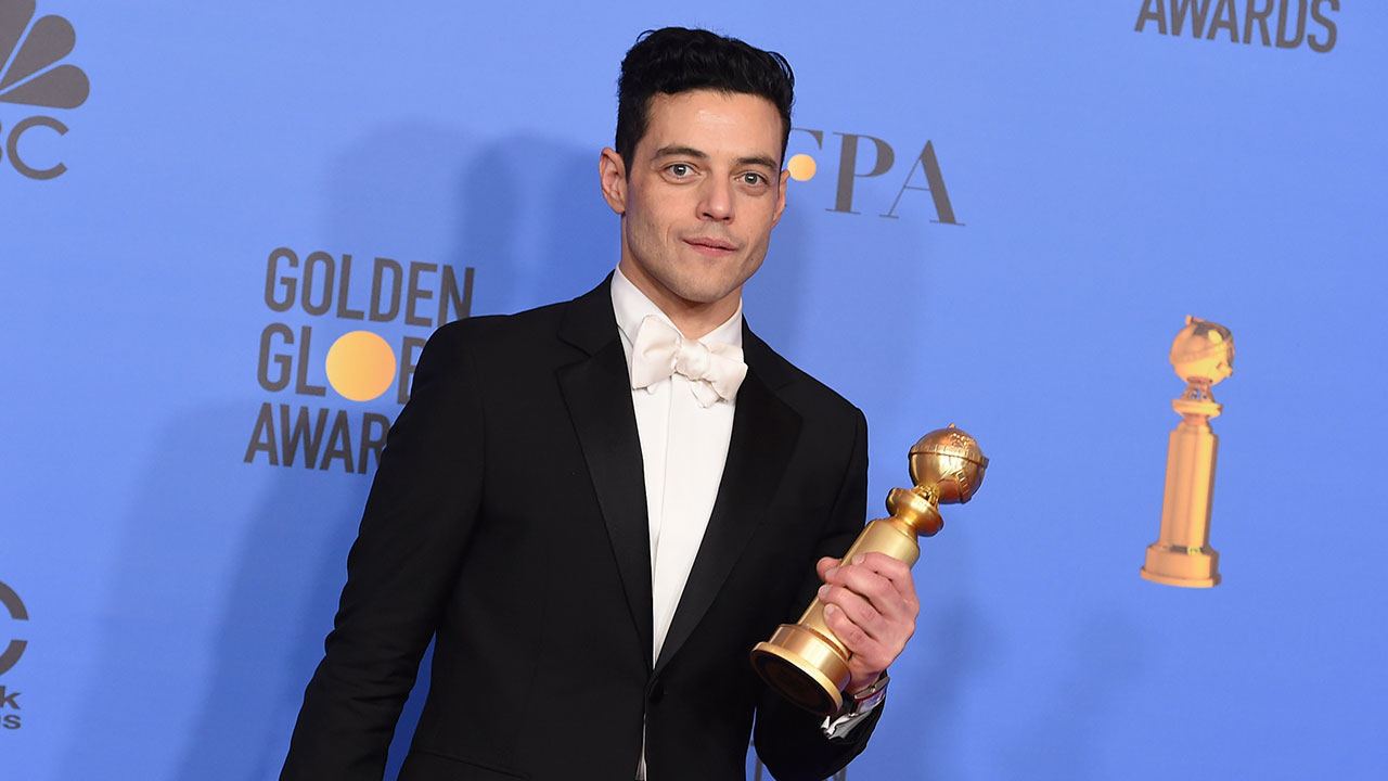 Rami Malek poses in the press room with the award for best performance by an actor in a motion picture, drama for Bohemian Rhapsody at the 76th annual Golden Globe Awards.