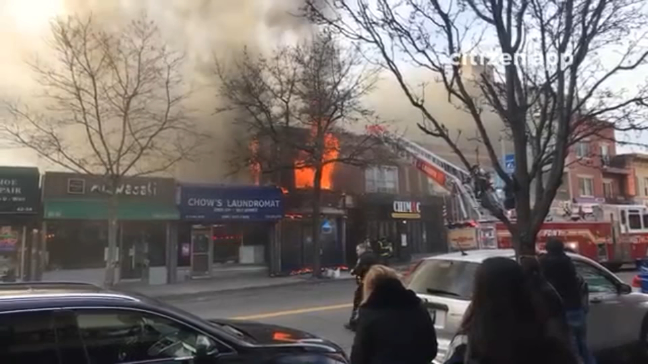 A fire burned through the second floor of a store on Bell Boulevard in Bayside - From Citizens App