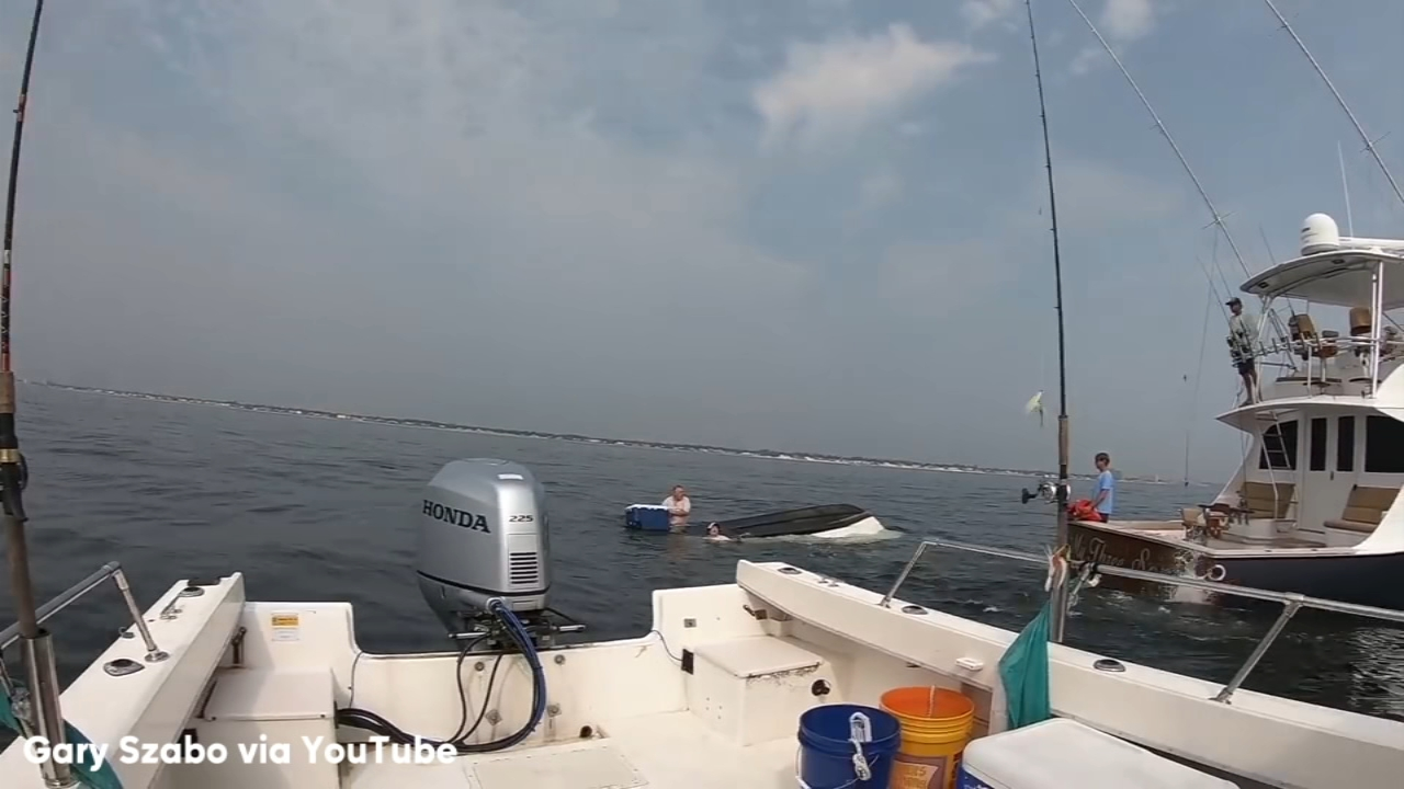 Raw video of the rescue of 2 men off the Jersey coast after a whale flipped their boat (courtesy Gary Szabo)