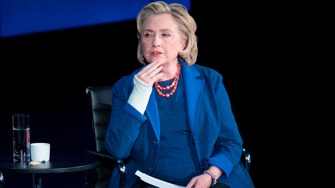 FILE - In this April 13, 2018 file photo, Hillary Clinton speaks during the ninth annual Women in the World Summit in New York.