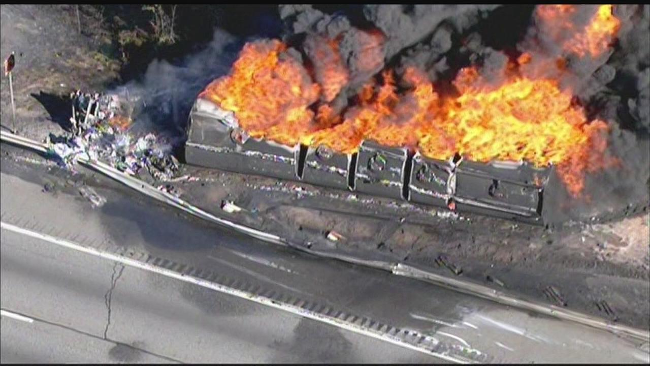 Raw video: Tanker fire on NJ Turnpike