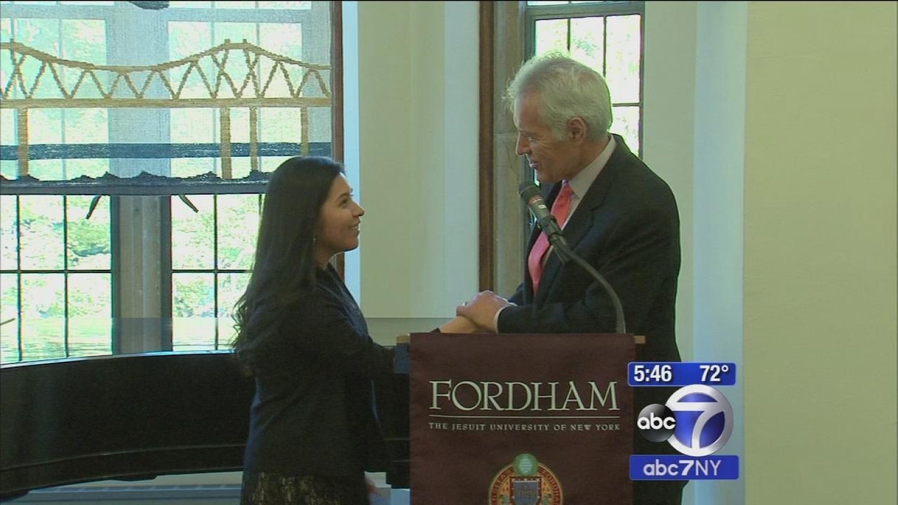 Alex Trebek gives Fordham student from Harlem scholarship