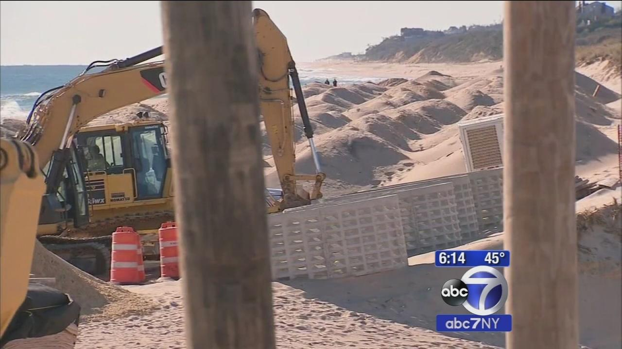 Protests in Montauk over wall of sandbags on beach to prevent flooding