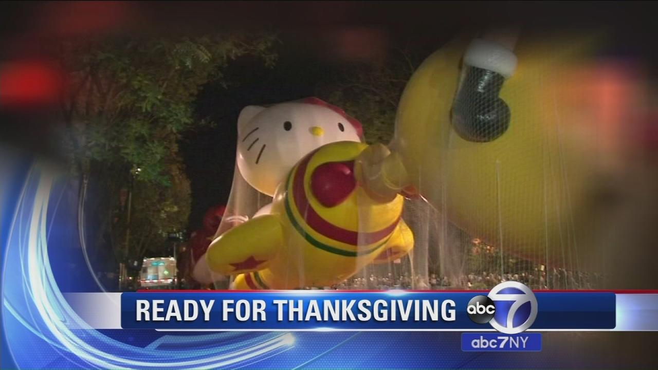Balloons inflated, Thanksgiving parade ready to go in New York City