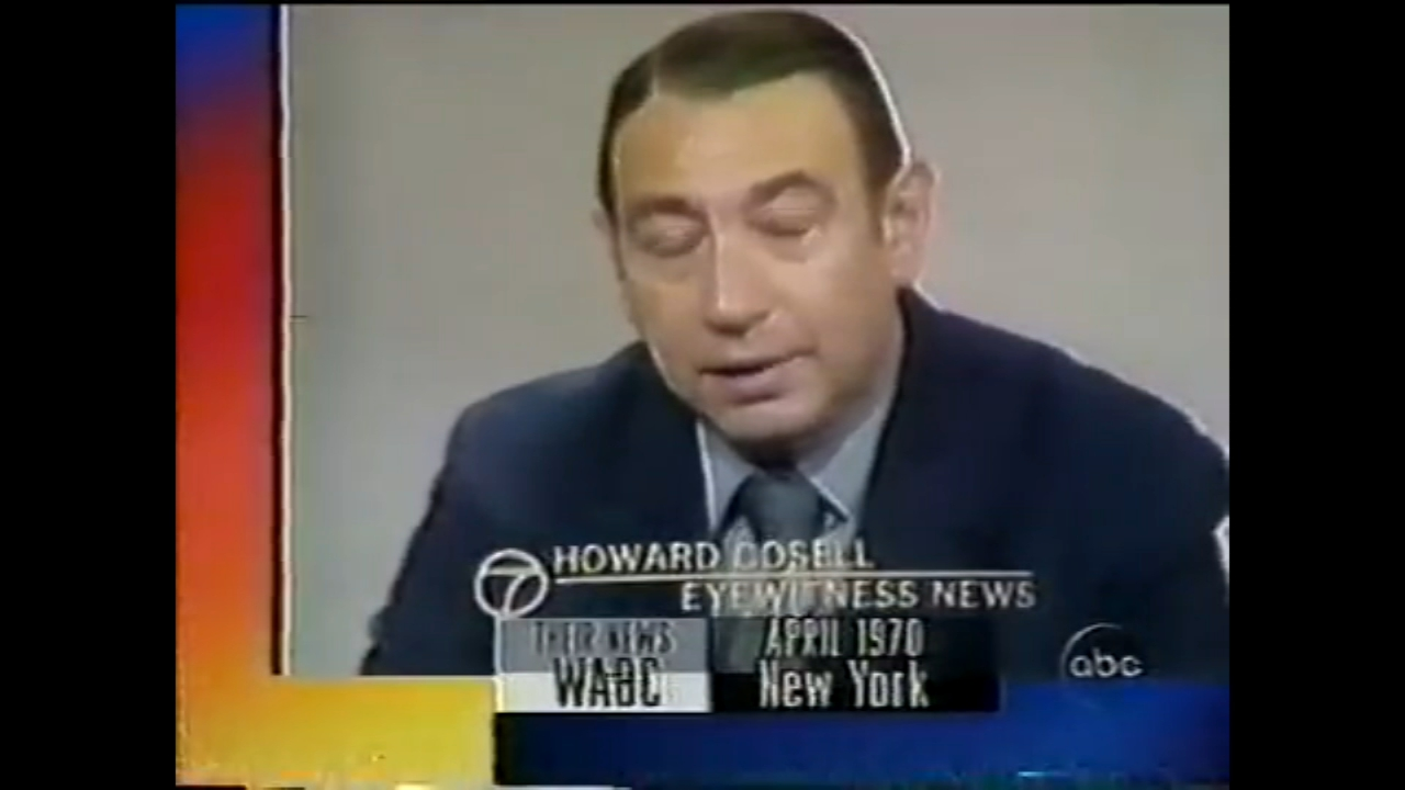 Legendary broadcaster Howard Cosell anchors sports on Eyewitness News in April 1970.