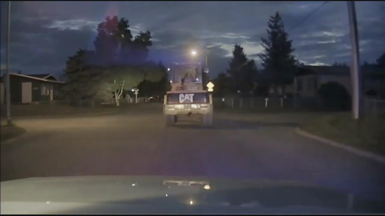 Front-loader leads police on low-speed chase