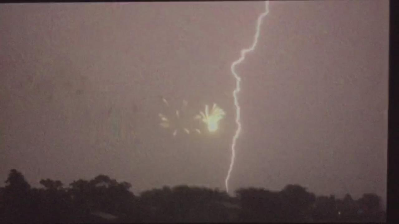 Fireworks and lightning over Southampton