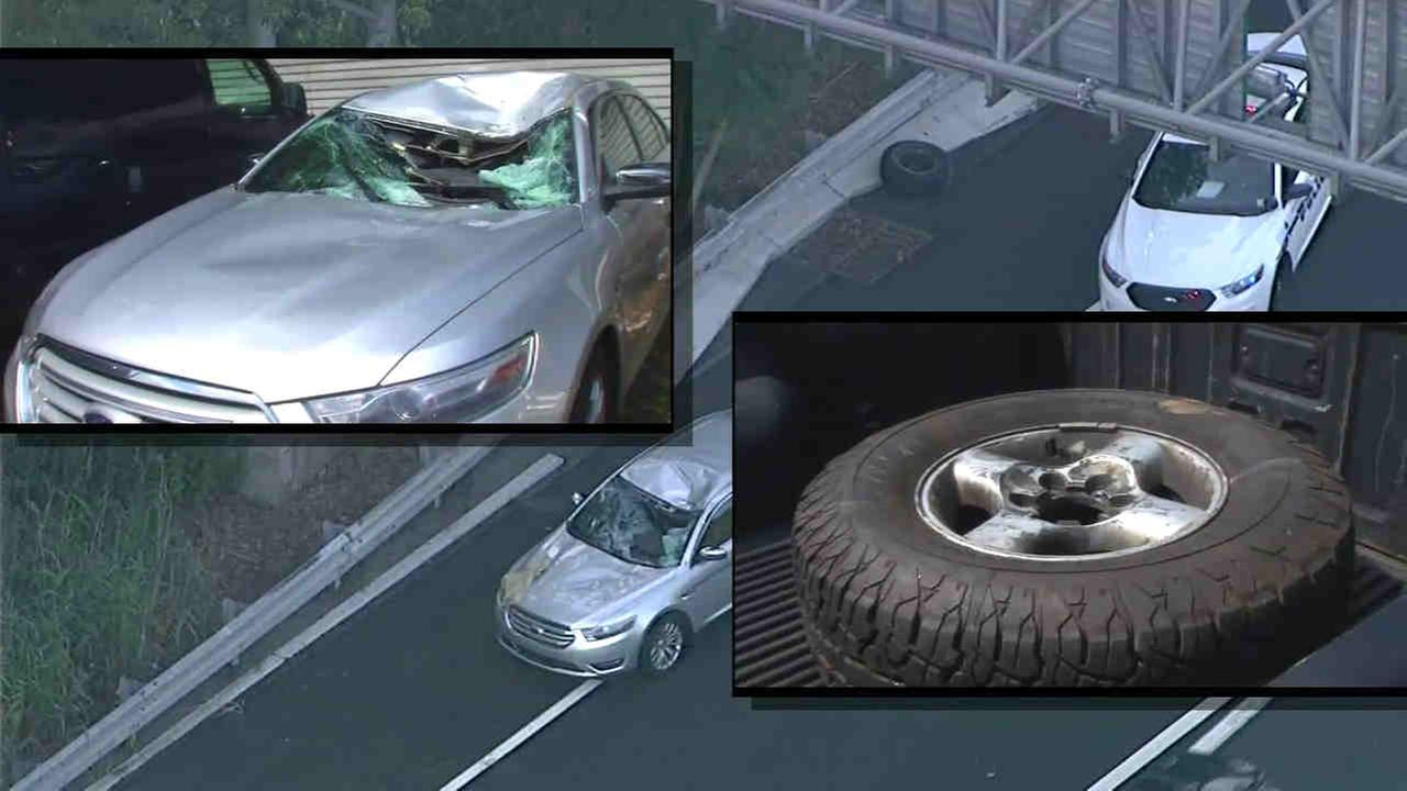 A tire flew off a car and hit two other vehicles in West Orange on I-280.