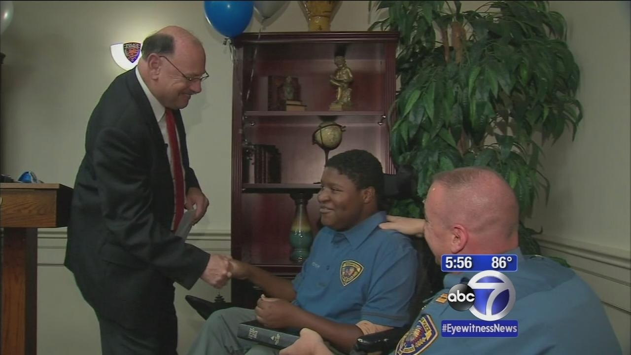 Teen battling Muscular Dystrophy made honorary police officer