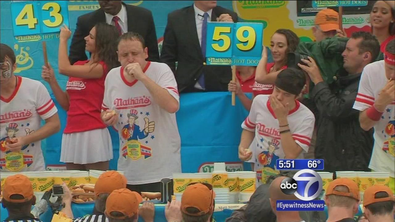 Joey Chestnut devours competition again at hot dog eating contest