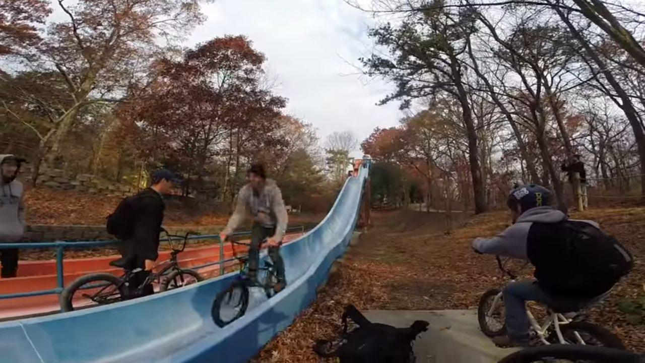 Police arrest 4 after video surfaces of BMX riders going down slides at Long Island water park