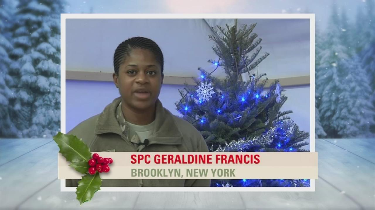 Troop Greetings: SPC Geraldine Francis